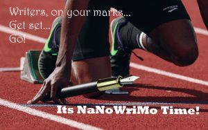 Schrijver met kroontjespen in de startblokken voor NaNoWriMo, De Letterbrug